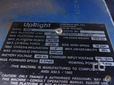 2001 UPRIGHT AB38 Crane for Sale in Perris California on CraneNetwork.com