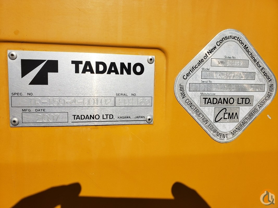 2007 Tadano TR-150XL Crane for Sale or Rent in Branchburg New Jersey on CraneNetwork.com