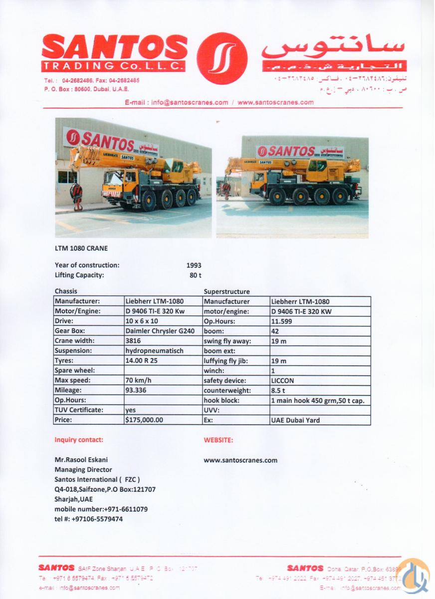 Sold 1993 Liebherr LTM 1080-1 Crane for  in Dubai Dubai on CraneNetwork.com