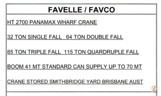 Favelle Favco HT 2700 Panamax Wharf Crane Crane for Sale on CraneNetwork.com