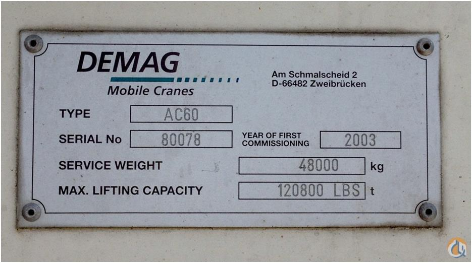 2003 DEMAG AC60 Crane for Sale in Houston Texas on CraneNetworkcom