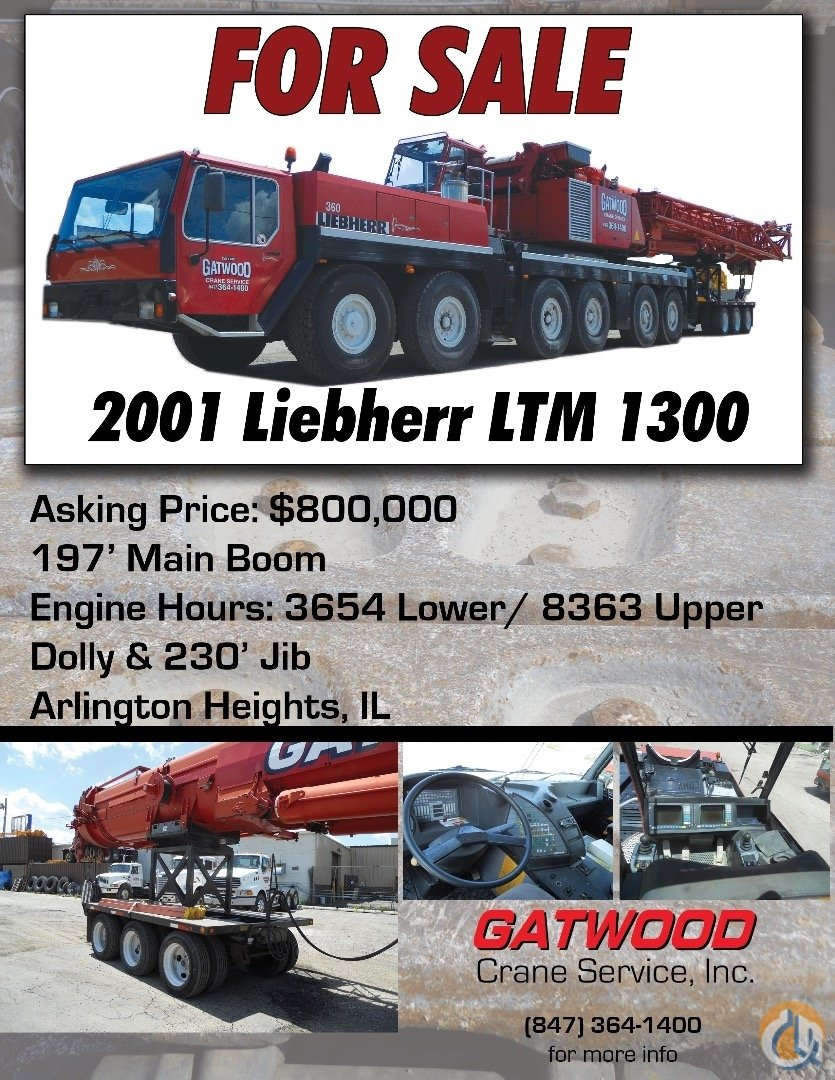 Sold 2001 Liebherr LTM 1300 Crane for  in Arlington Heights Illinois on CraneNetwork.com