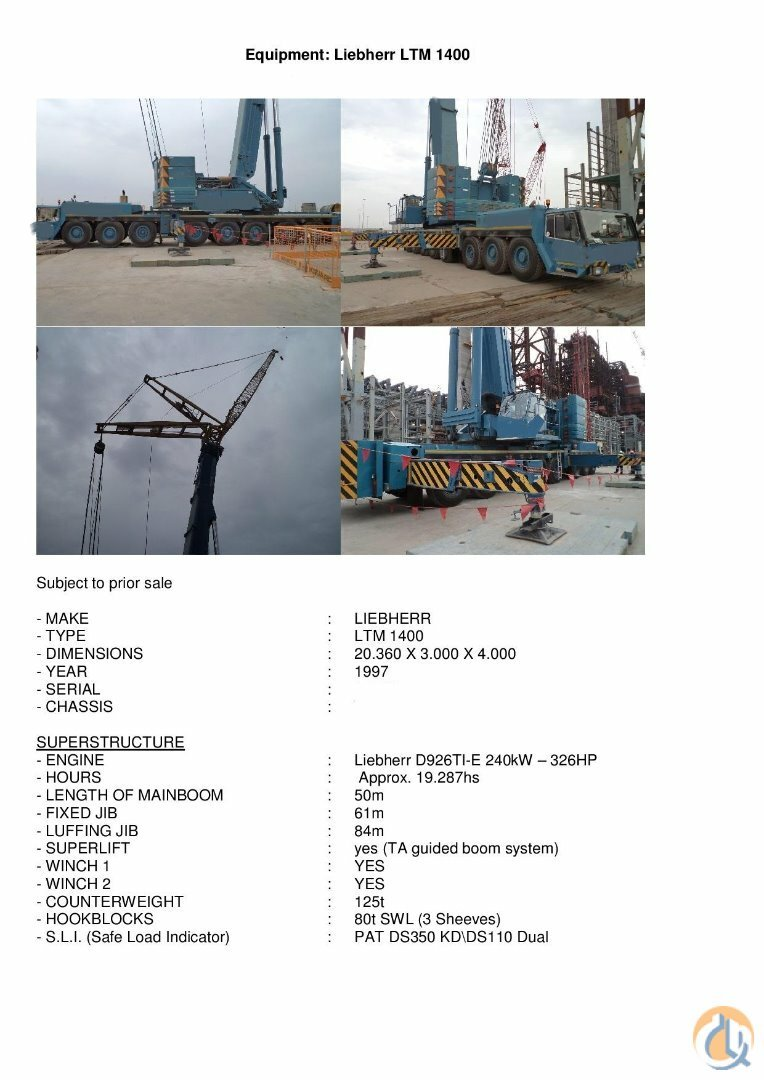 Sold 1997 LIEBHERR LTM1400  FULL BOOM Crane for  on CraneNetwork.com