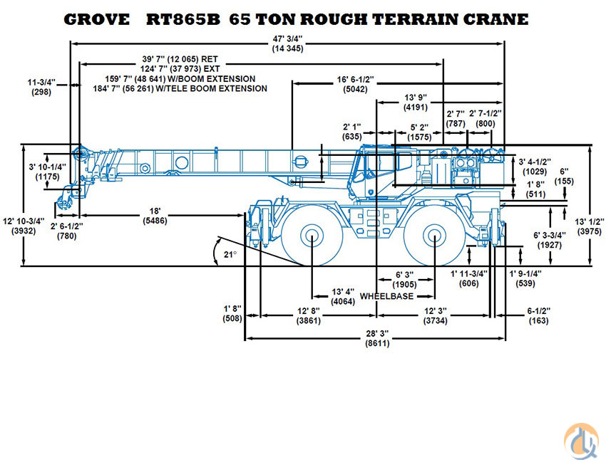 sold 1997 grove rt865b 65 ton rt crane crane for on