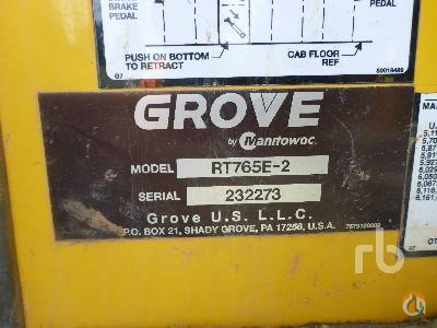 Sold 2012 GROVE RT765E-2 ROUGH TERRAIN CRANES Crane for  in Orlando Florida on CraneNetwork.com