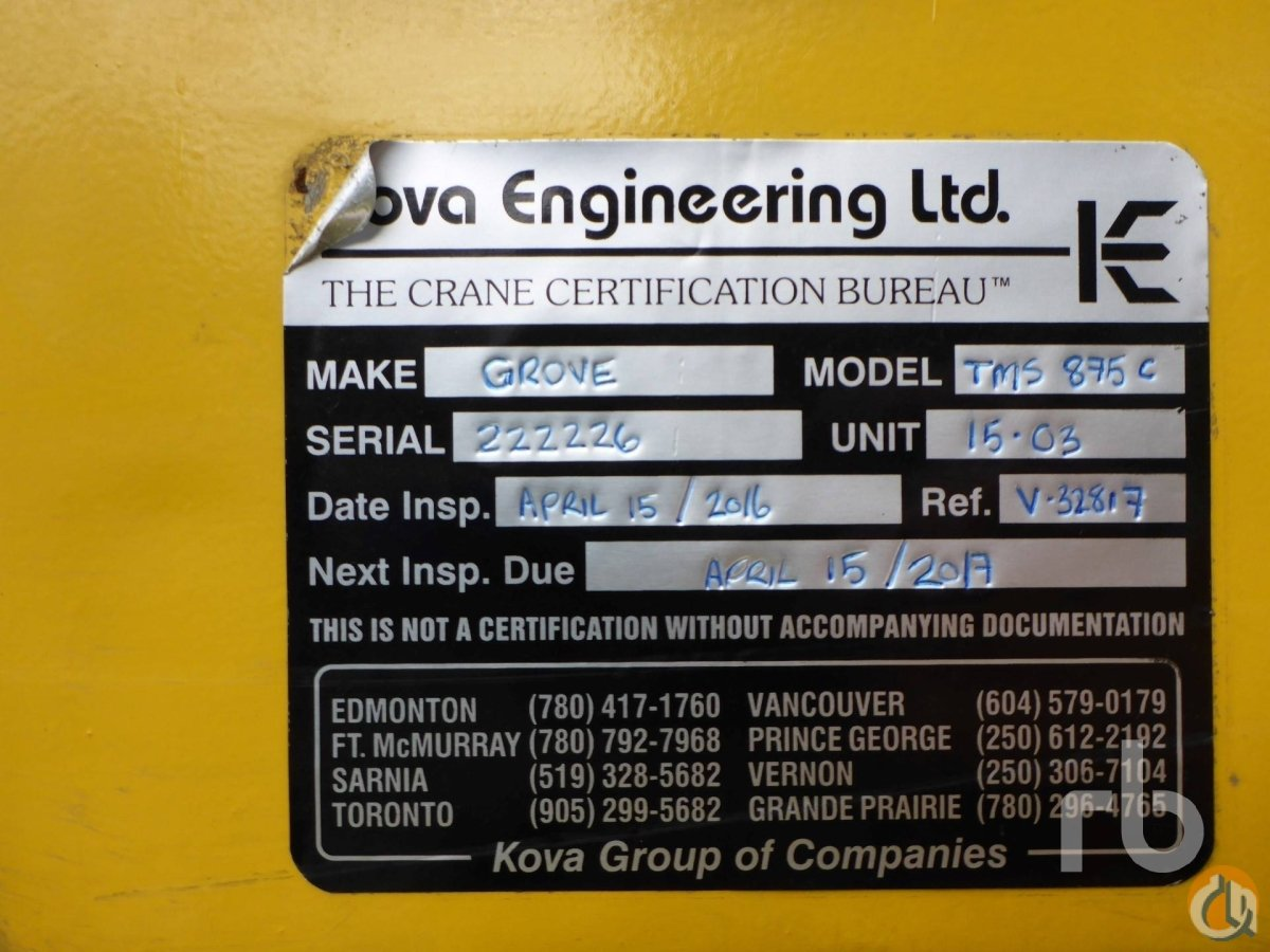 Sold 2002 GROVE TMS875C Crane for  in Chilliwack British Columbia on CraneNetworkcom