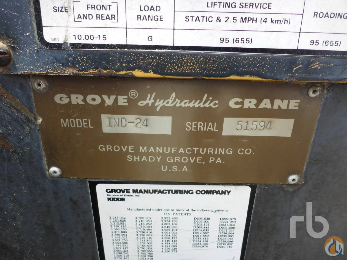 Sold 1982 GROVE IND24 6 Ton Carry Deck Crane Crane for  in Raleigh North Carolina on CraneNetworkcom