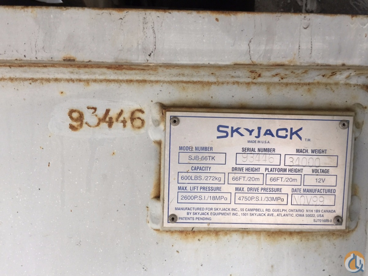 Skyjack Boom Lift  Boom SKYJACK SJB66TK Atlantic Kritch Crane Service 156 on CraneNetworkcom