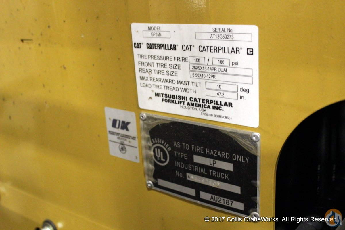 Used 2017 Cat GP35N Mast CATERPILLAR GP35N CraneWorks Inc. 23853 on CraneNetwork.com