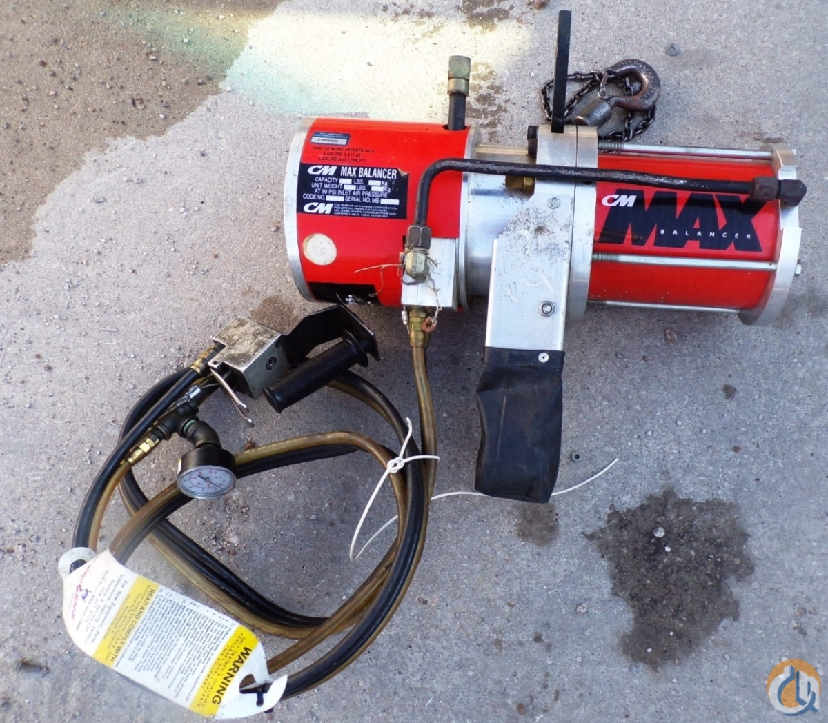 Columbus Mckinnon CM 0950 PNEUMATIC CHAIN HOIST MAX BALANCER 120 LBS CAPACITY 55 KG HoistsWinches Crane Part for Sale in Coffeyville Kansas on CraneNetwork.com