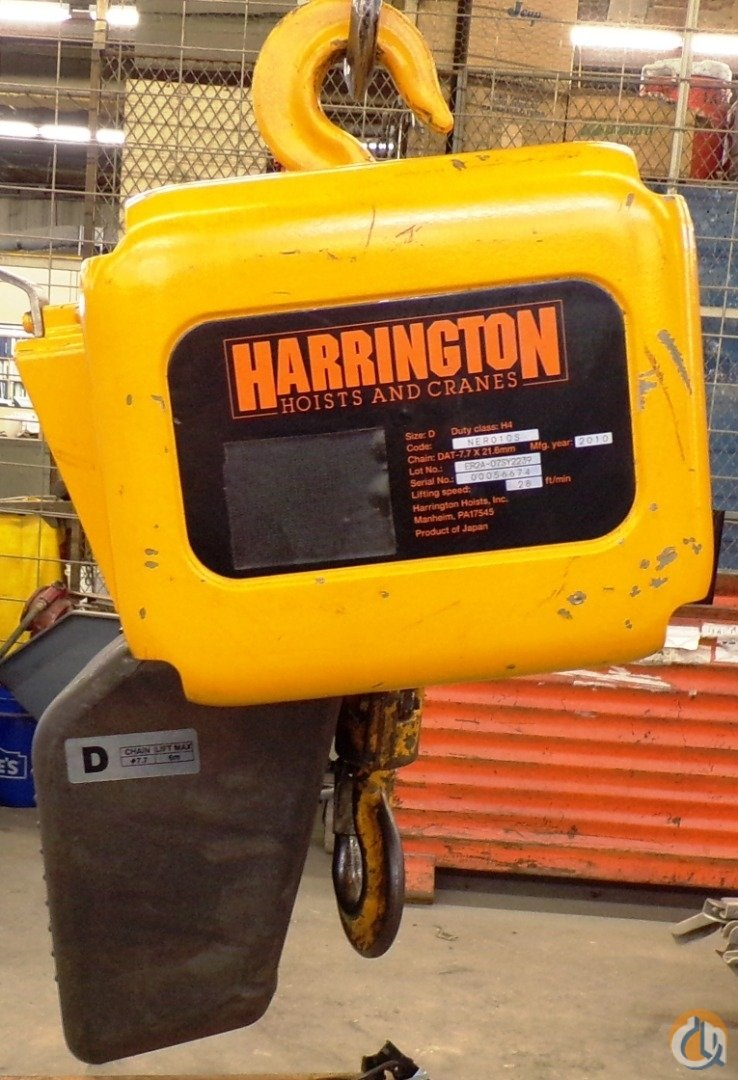 Harrington Hoists HARRINGTON NER010S ELECTRIC CHAIN HOIST 1 TON 2000 LBS SIZE D 20 FT LIFT HoistsWinches Crane Part for Sale in Coffeyville Kansas on CraneNetwork.com