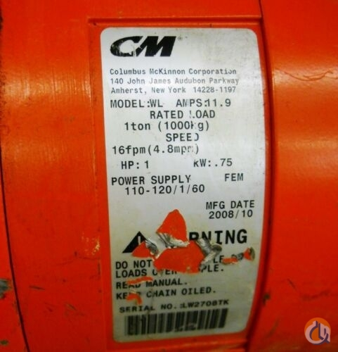 Columbus Mckinnon COLUMBUS MCKINNON 1 TON CHAIN HOIST MODEL WL AMPS 11.9 1 HORSE POWER HoistsWinches Crane Part for Sale in Coffeyville Kansas on CraneNetwork.com