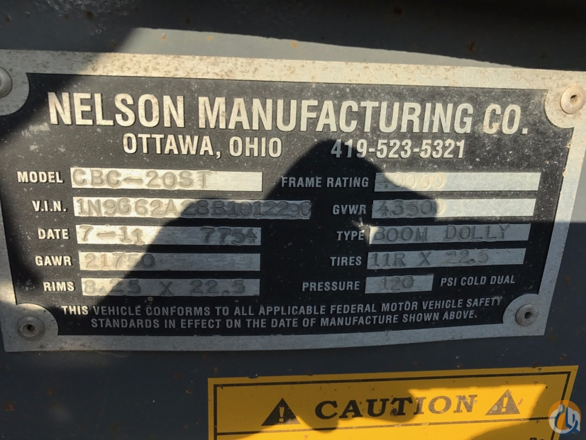 Nelson 2011 Nelson CBC-20ST Dual Axle Boom Dolly Boom Dolly Crane Part for Sale in Oakville Ontario on CraneNetwork.com