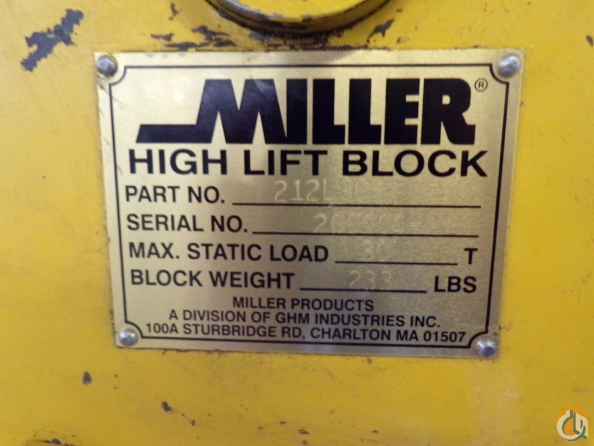 Miller MILLER HIGH LIFT BLOCK 212L30 30 TON DOUBLE SHEAVE 34 Miscellaneous Parts Crane Part for Sale in Coffeyville Kansas on CraneNetwork.com