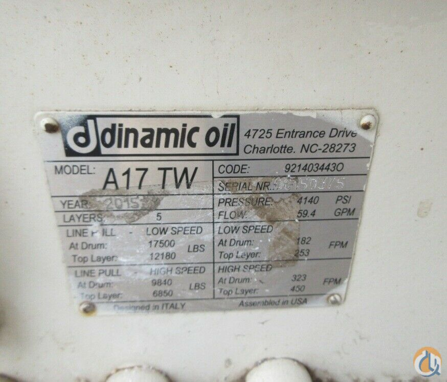 Dinamico DINAMIC OIL WINCH MODEL A17 TW 17000 LBS 5 LAYERS 4140 PSI FLOW 59.4 GPM Winches  Drums Crane Part for Sale in Coffeyville Kansas on CraneNetwork.com