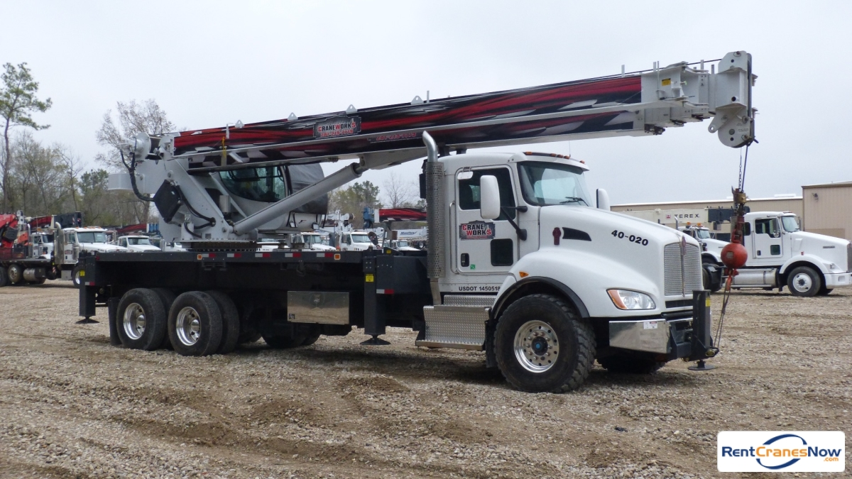 Manitex 40124S mounted to 2013 Kenworth T440 chassis includes man basket Crane for Rent in Bakersfield California on CraneNetworkcom