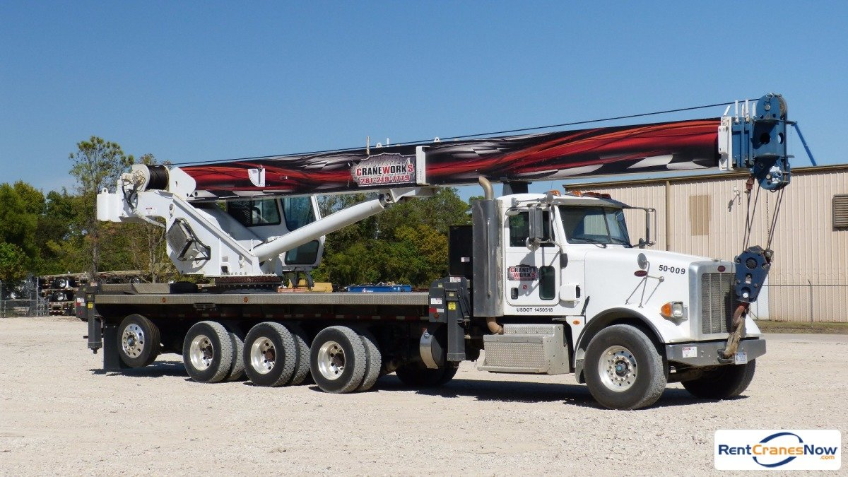 Manitex 50128S mounted to 2012 Peterbilt 367 tridem chassis Crane for Rent in Brighton Colorado on CraneNetworkcom
